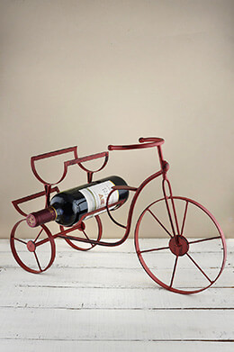 Bicycle Wine Rack Red 12x7x18in