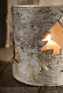 Birch Candle Holder with Tree Cut Out 5.25in