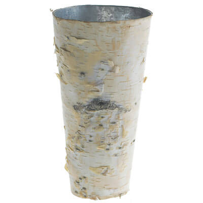 Birch Covered Zinc Vase 9in