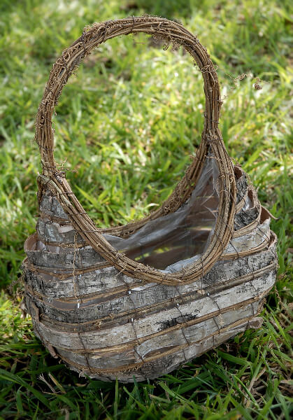Woodland Flower Girl Basket Birch with Liner 12in