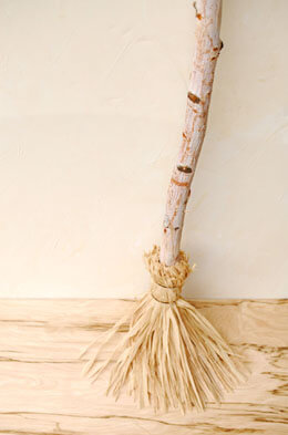 Handmade Birch & Raffia Broom 39""