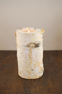 "6"" Natural Birch Tree Branch Candle Holders with Candle"