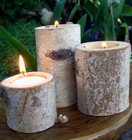 Birch Branch Tea light Holders (Set of 3)