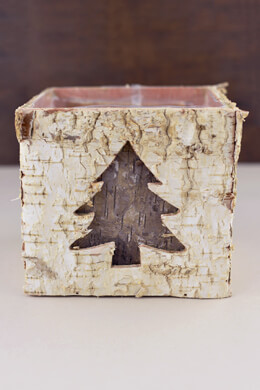 2 Holiday Natural Birch Bark Pots