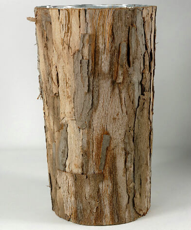 Bark Covered Zinc Vase 10in