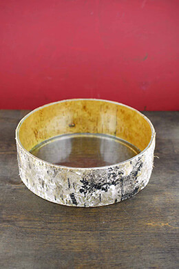 "Birch Bark Wrapped Glass 10"" Bowl"