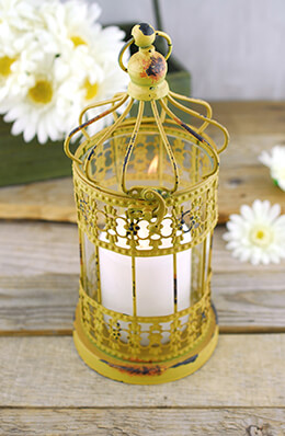 Bird Cage Candle Holder Yellow 11in