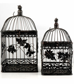 "Butterfly Decorative Black Birdcages Set of 2  16.5 & 13"" , Wedding Bird Cages"