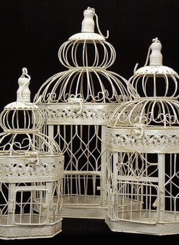 Set of 3 Victorian Cream White Bird Cages