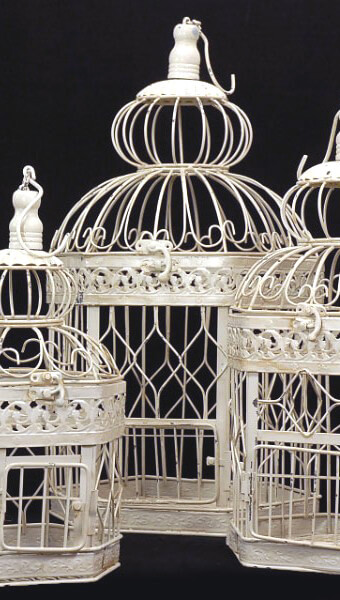 Vintage Birdcages -Set of 3-  Ivory Metal