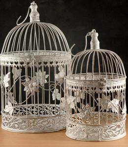 Round White Bird Cages (Set of 2)