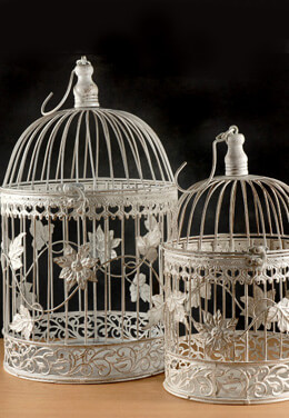 2 White Ivy Wedding Bird Cages