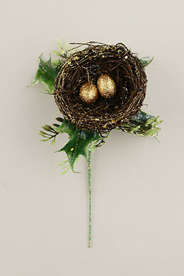 12 Bird Nest Floral Picks Gold Eggs 7in
