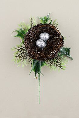 12 Bird Nest Floral Picks with Silver Eggs 7in