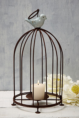 Birdcage Candle Holder Brown 12in