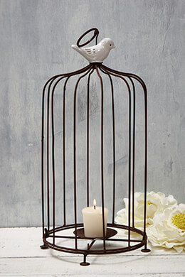 Birdcage Candle Holder Brown 15in