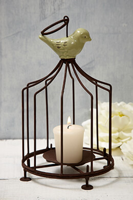 Birdcage Candle Holder Brown 9in