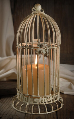 "Birdcage Candleholder 11"" Cream White Metal"