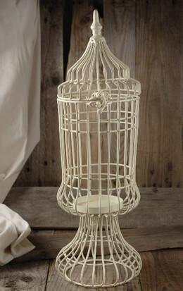 Cream White Birdcage Candleholder 19in
