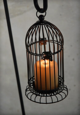 Bird Cage Candle Holder Black 11in