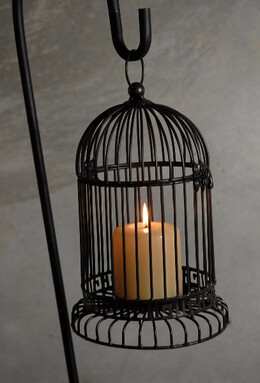 Black Hanging Bird Cage Candle Holder