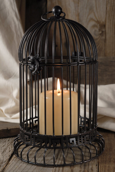 "12"" Black Hanging Bird Cage for Flowers, Succulents or Candles"