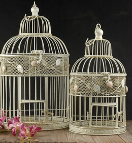 "Birdcages Antique White Round Bird Cages (set of two) 17"" & 15"""