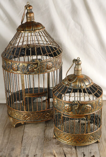 Brass Bird Cages | Set of 2