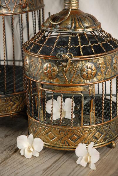 Vintage Brass Round Bird Cages - Set of 2