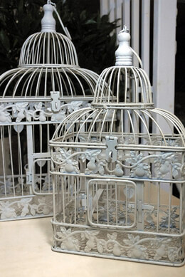 "Wedding Bird Cages Set ot Two White 19""&15"""