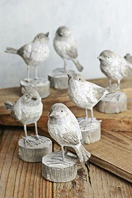 Set of 6 Birds on Tree Stumps