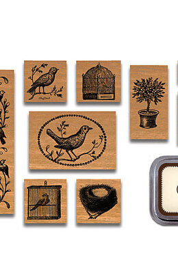 Birds & Nests Rubber Stamp Kit Cavallini & Company 11 Wood Stamps