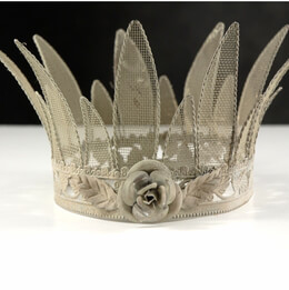 Ivory Bisque Metal Mesh Rose Crown  6 x 5