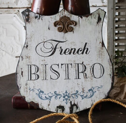 French Bistro Shield Wood Sign
