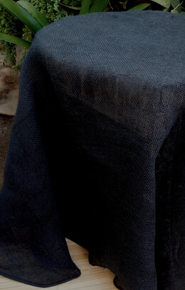 Black Burlap Table Cloth 60 in. Round Cotton Hem