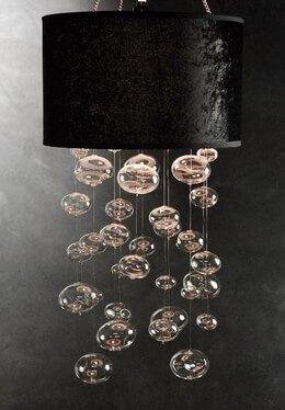 "29"" Glass Bubble Chandelier BLACK"