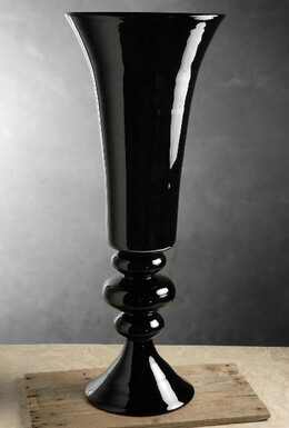 Black Glass Fluted Vase on Pedestal 30in