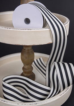 Black & Ivory Striped Ribbon 2.5