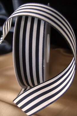 "Black & Ivory Striped Ribbon 7/8"" x 25 yards"
