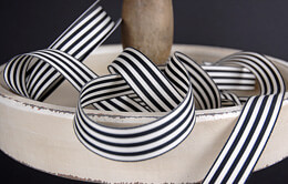 Black & Ivory Striped Ribbon 7/8