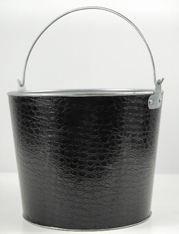 Black Leather Covered Bucket 8.5""