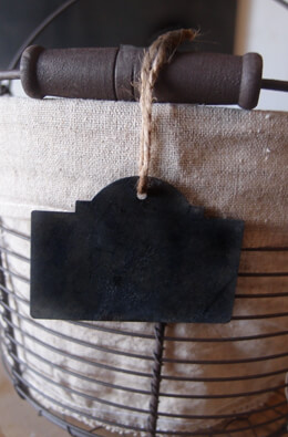 12 Black Chalkboard Tags w/Twine 2 x 2-3/4in
