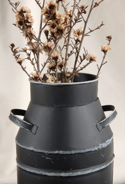 Farm Milk Can Black Metal with handles