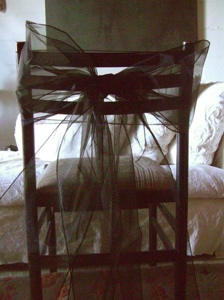 "Black Organza Chair Sashes 8"" Wide  (10 sashes)"