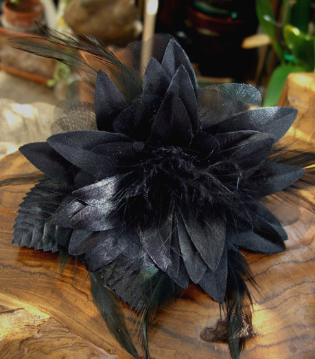 "Black Silk & Feather 7"" Millinery Flower"