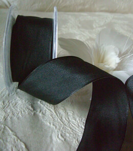 Taffeta Ribbon Wired Black 1.5in