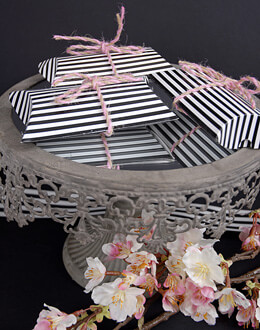 Black & White Striped Pillow Boxes (Set of 12)