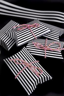 12 Black & White Striped Pillow Favor Boxes