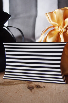 12 Black & White Striped Pillow Favor Boxes