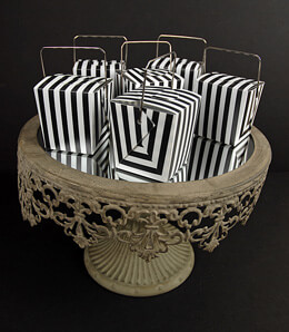 Black & White Striped Takeout Favor Boxes 2in (12 boxes)